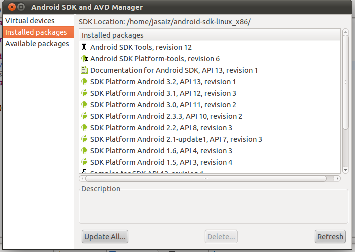 Pantallazo-Android SDK and AVD Manager